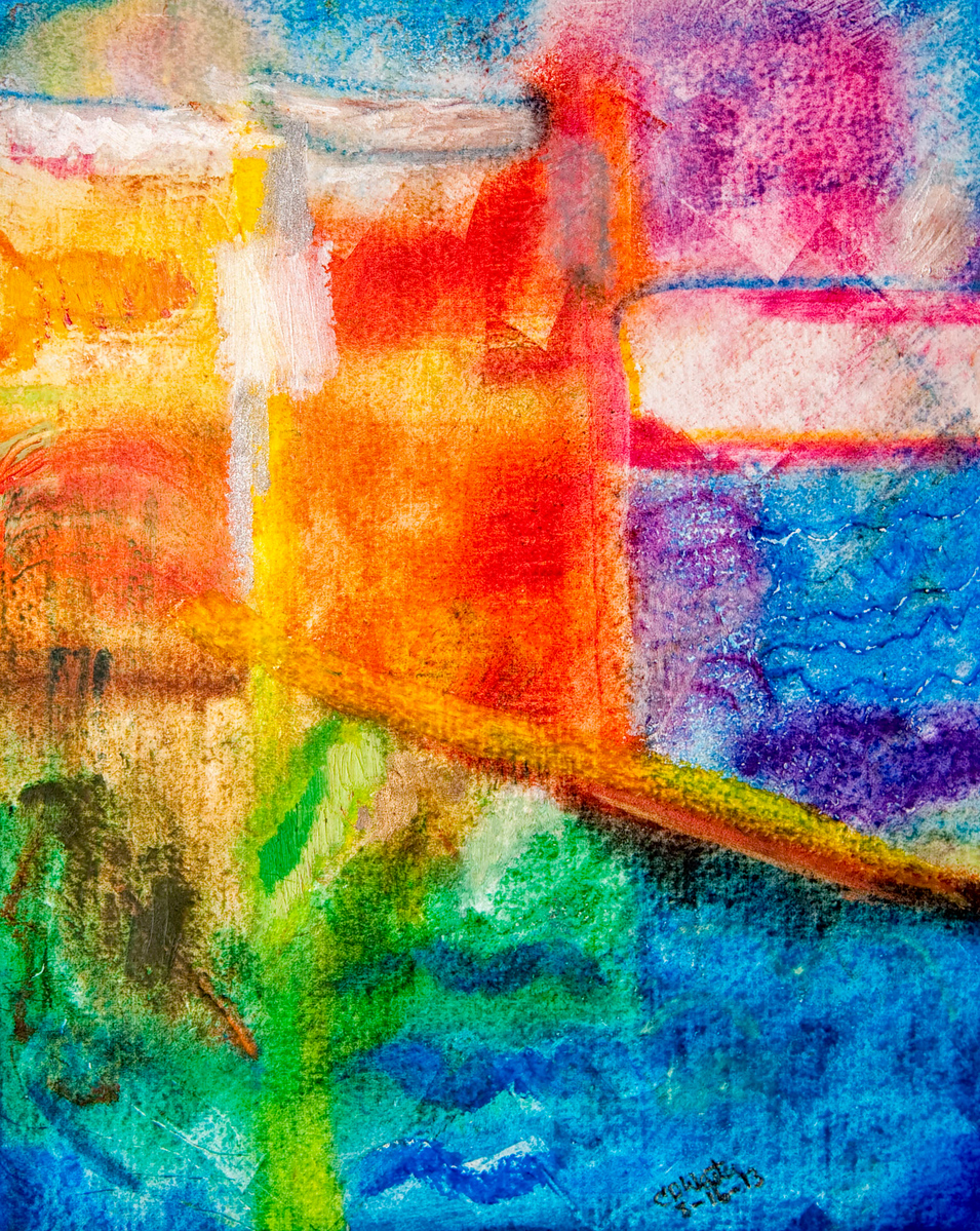 CDW 7128  Macro Curtains II 17  Oil Pastel Finger Painting,on Arches Oil Paper 8x10 inches Filed in 8 14 13