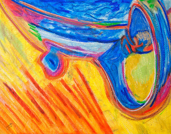 CDW 7279  Not a Blind Teapot  Sennelier Oil Pastel on Moulin du Roy Watercolor Paper  14x18 inches  Completed 3 11 14  File 3 4 14